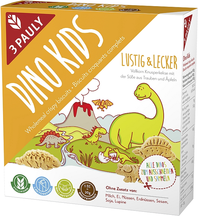 Naturalne, pełnoziarniste Keksy bezlaktozowe dla dzieci DINO KIDS marki 3 PAULY