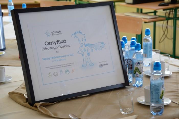Certyfikat Zdrowego Sklepiku dla Szkoły Podstawowy nr 103 z Warszawy